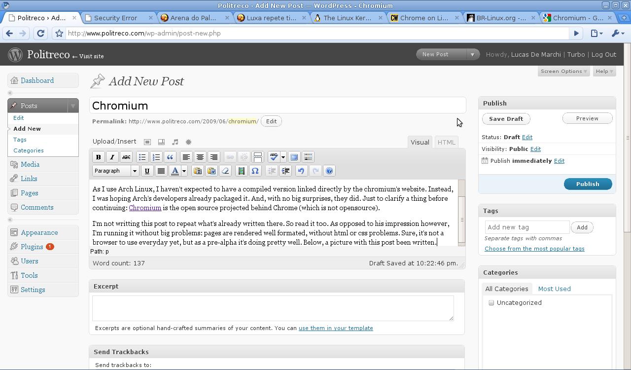 Running chromium while posting in my blog
